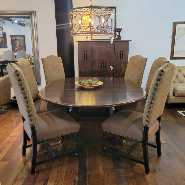 """Oak, 60"""" round extending table with Baroque upholstered side chairs"""