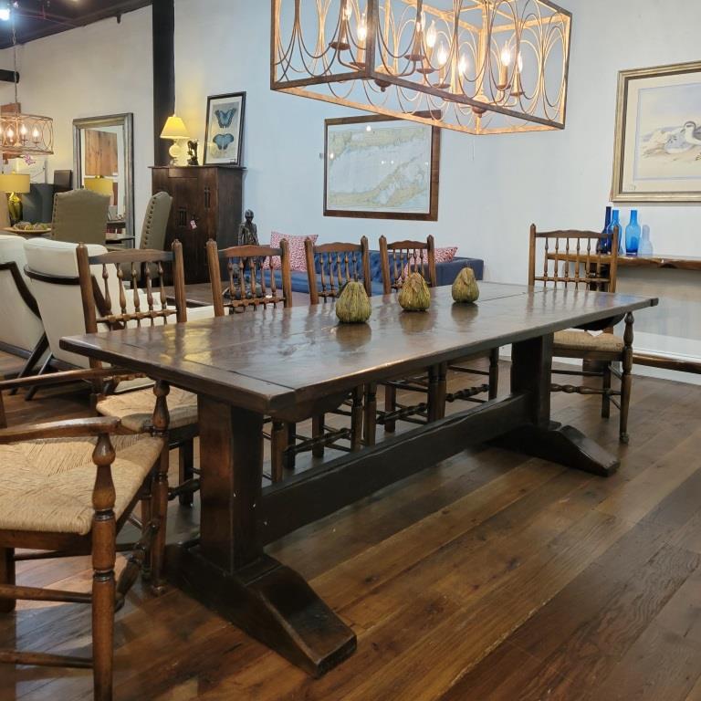 Oak 2 board top trestle base refectory table