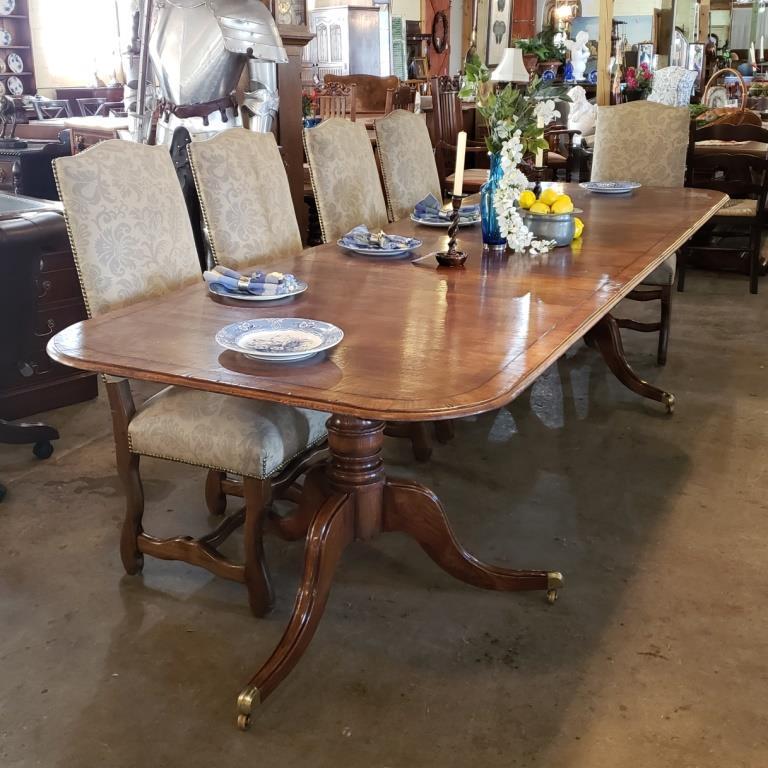 Antique oak finish double pedestal table