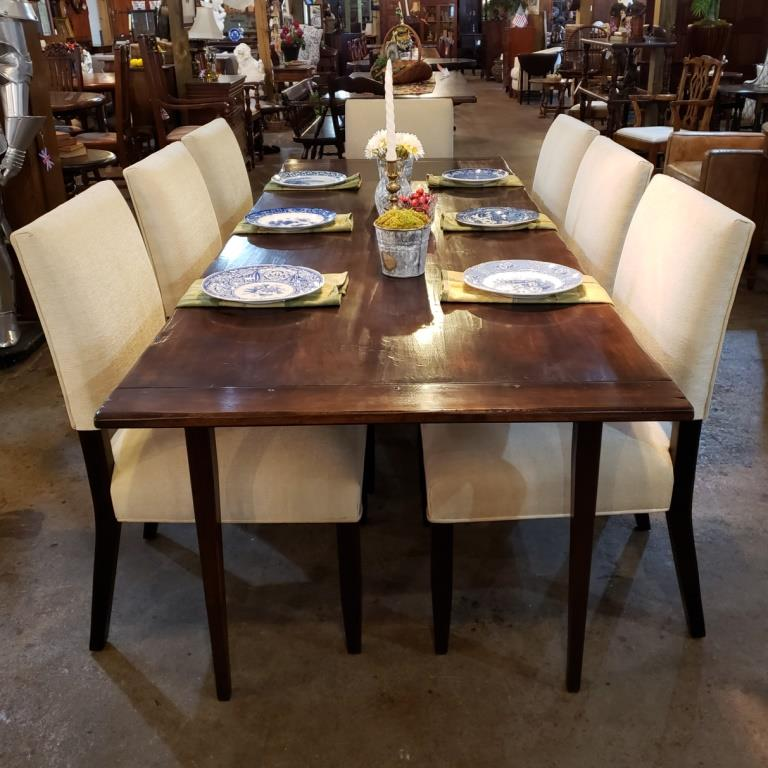 Farmhouse style table with Finley upholstered dining chairs