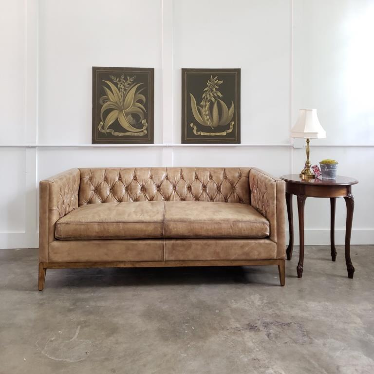 Clara button tufted leather loveseat