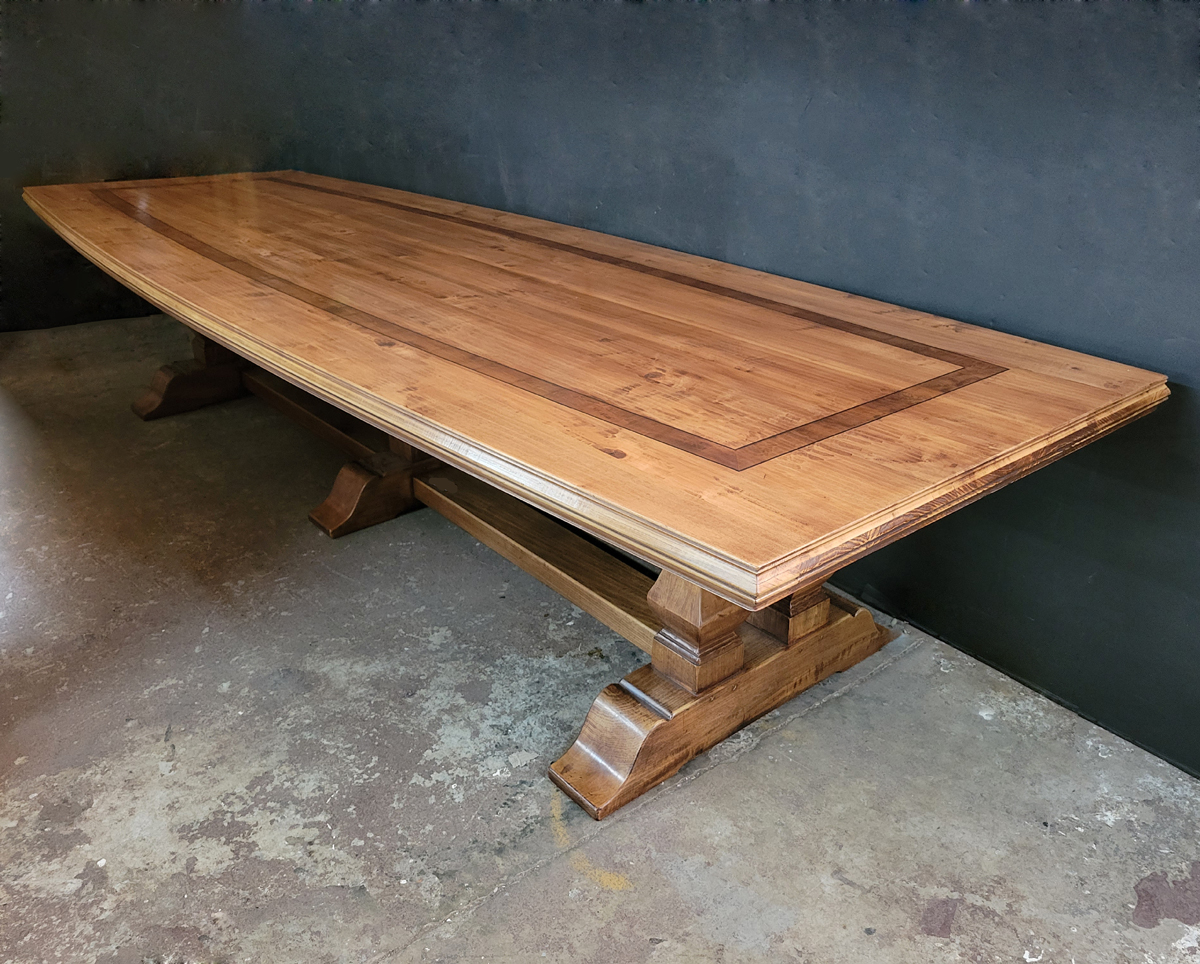 Custom cherry finish baluster base refectory table  with inset banding