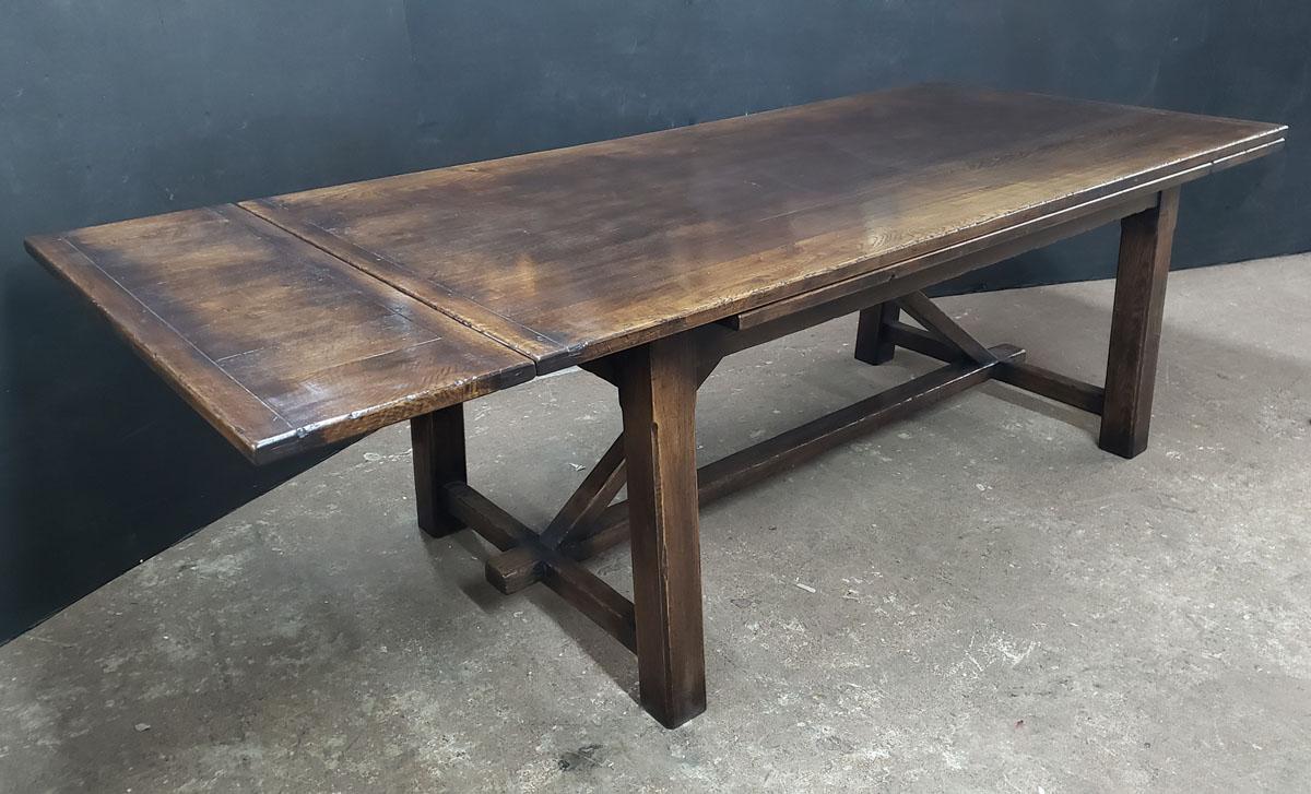 Custom built oak drawer leaf dining table