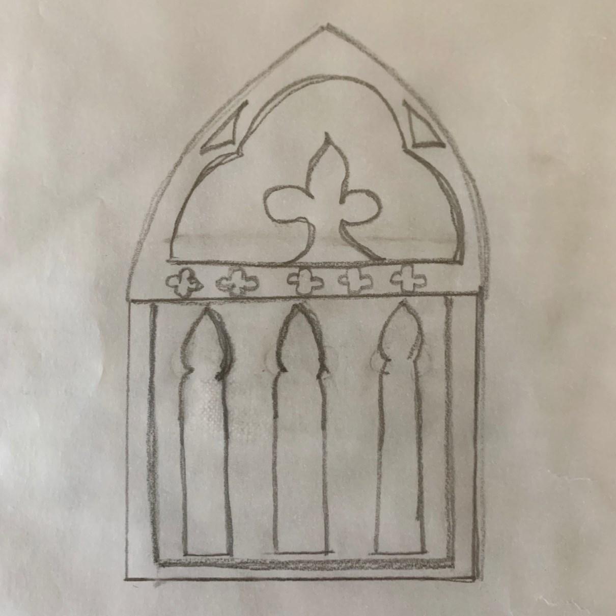 custom gothic chapel chair sketch