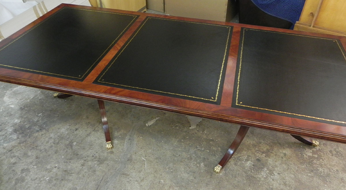 Custom mahogany leather top conference table