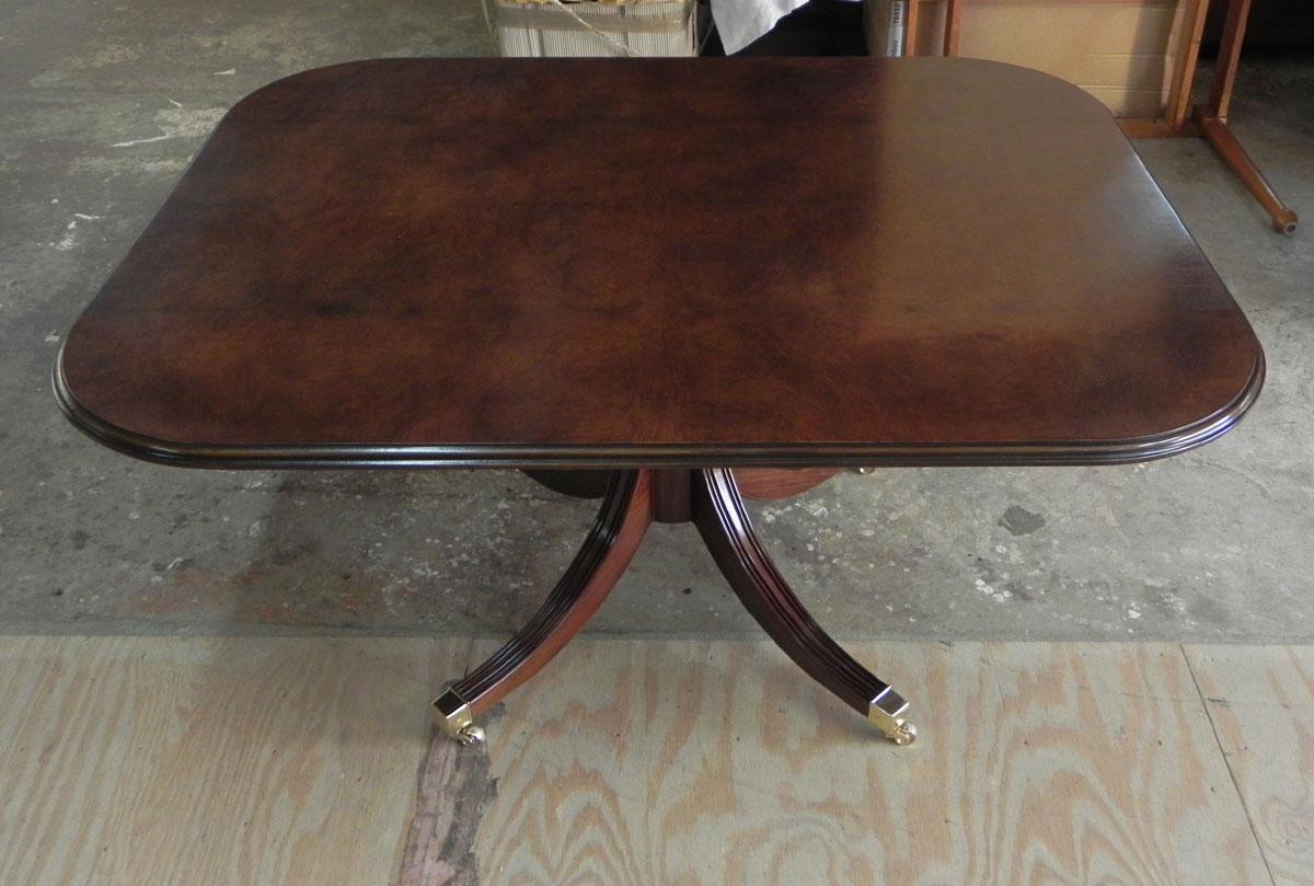 Custom burl walnut pedestal table