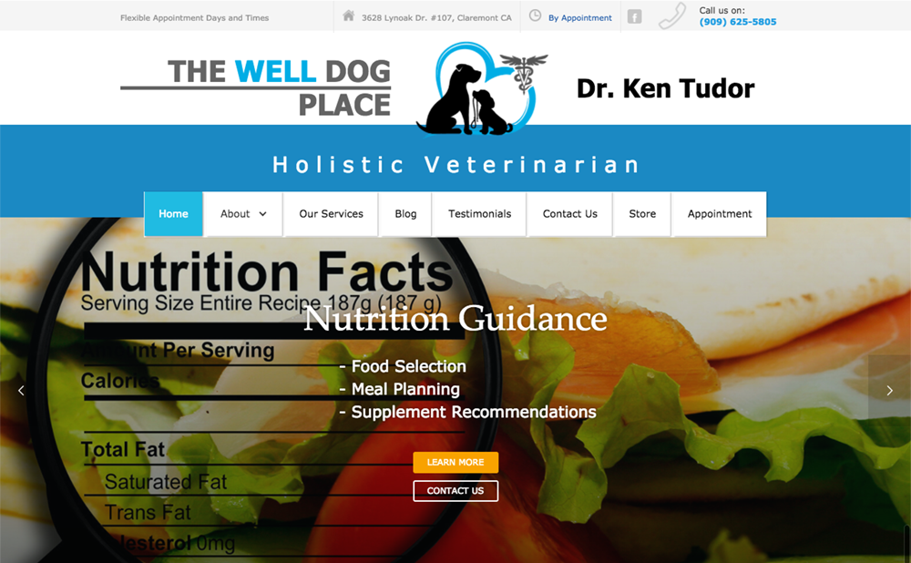The Well Dog Place home page before