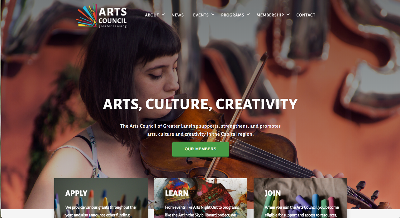 Photo of lansing arts council website