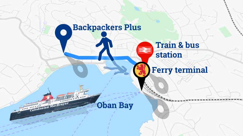 Oban central - Backpackers Plus is an Easy 10 minute walk from train, bus & ferry