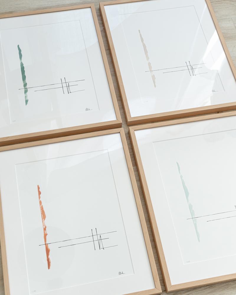 Láminas Alaya enmarcadas en haya en cuatro colores