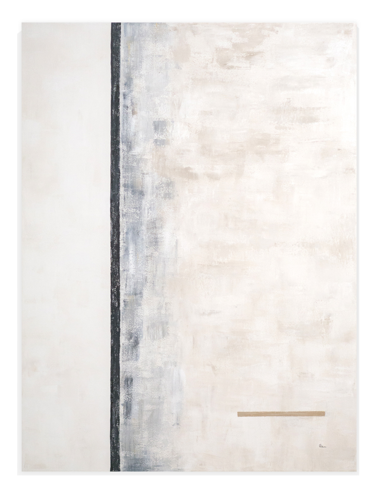 Obra Evolución colgada en pared blanca