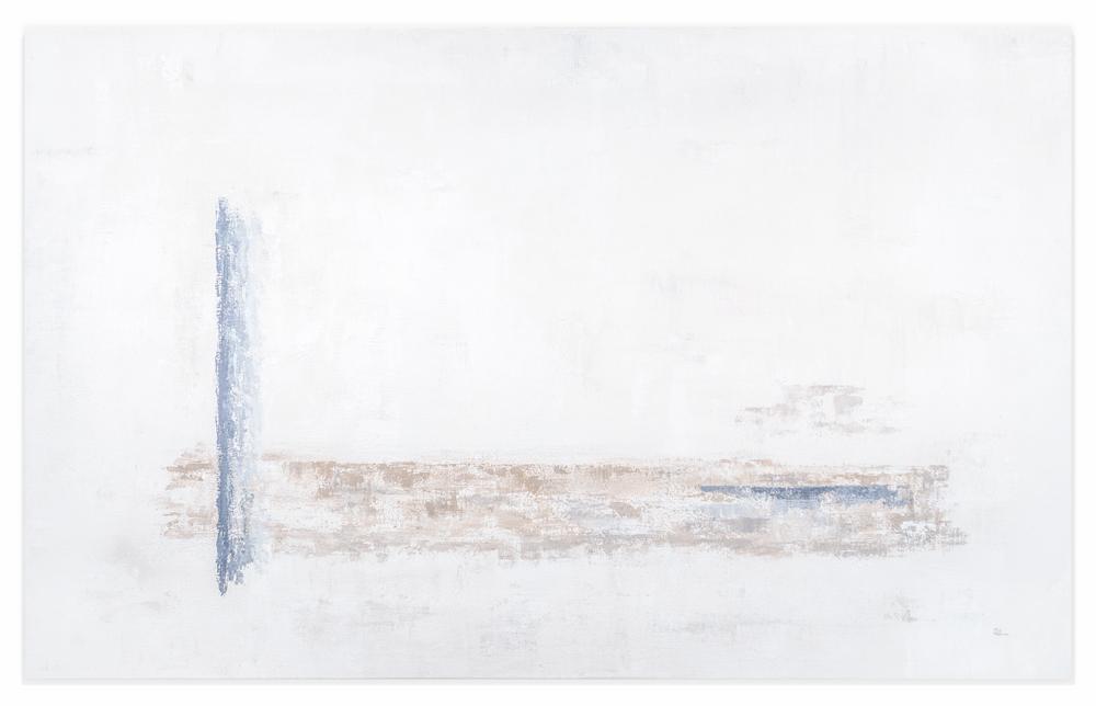 Obra Julio en la Playa colgada en pared blanca