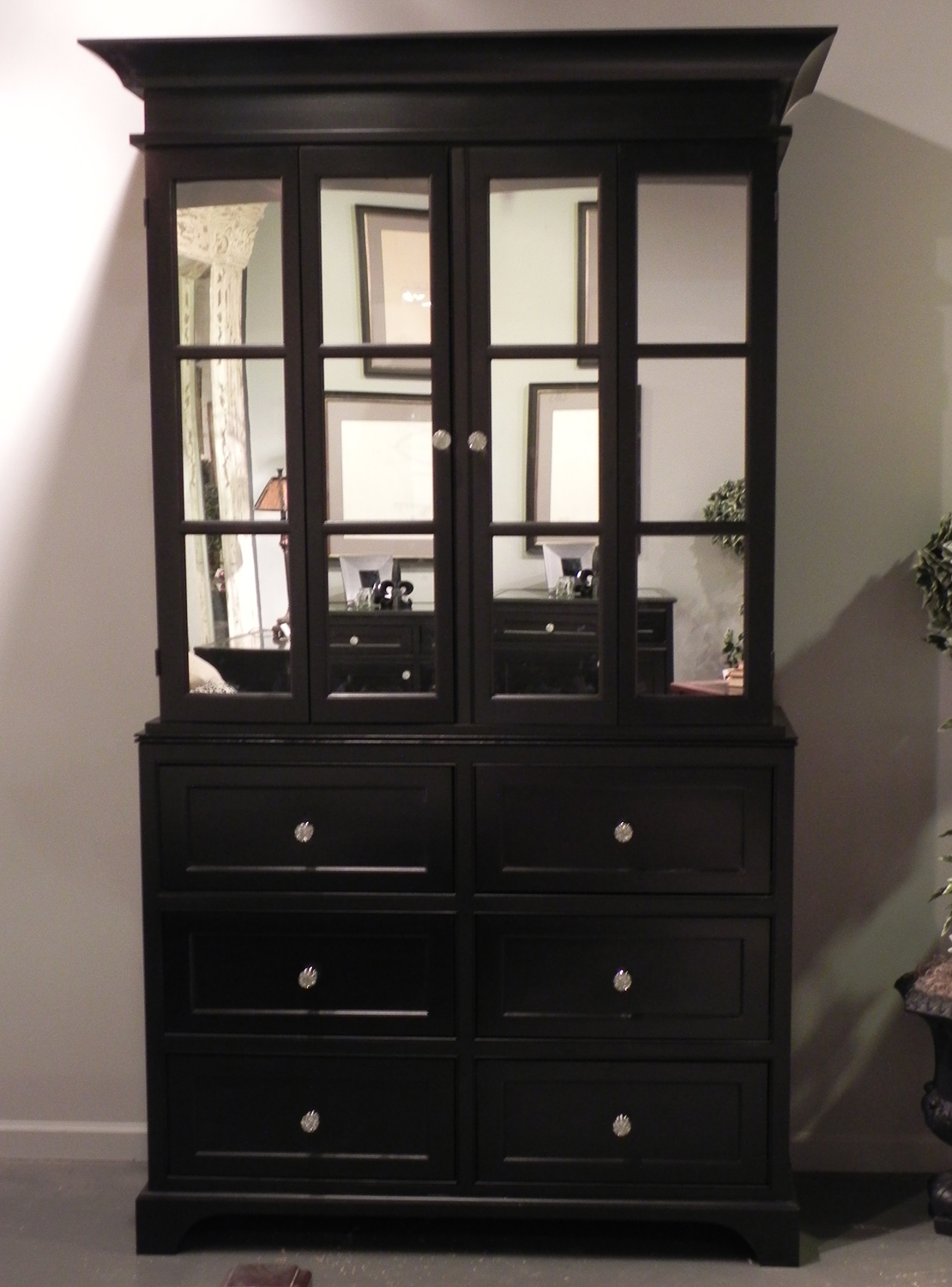 Black Painted Tv Cabinet With Mirror Doors