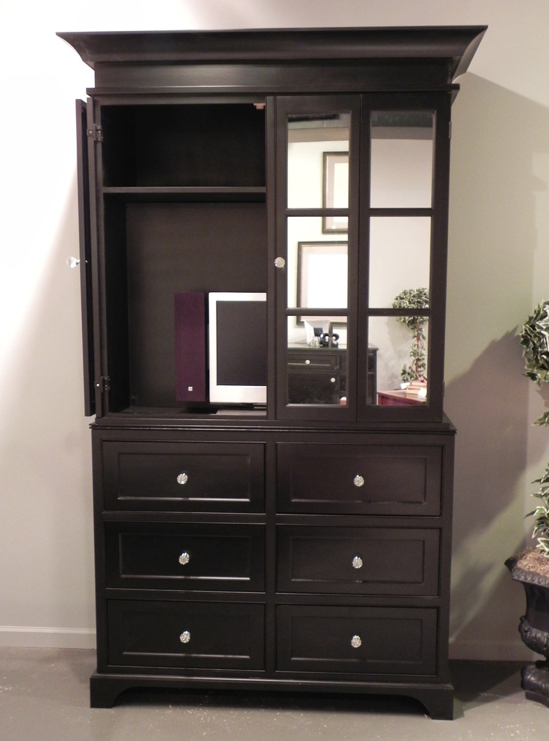 Picture of: Black Painted Tv Cabinet With Mirror Doors