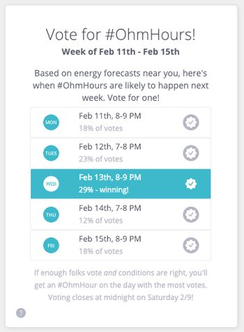 Vote for your OhmHours illustration showing dates and times you can vote for