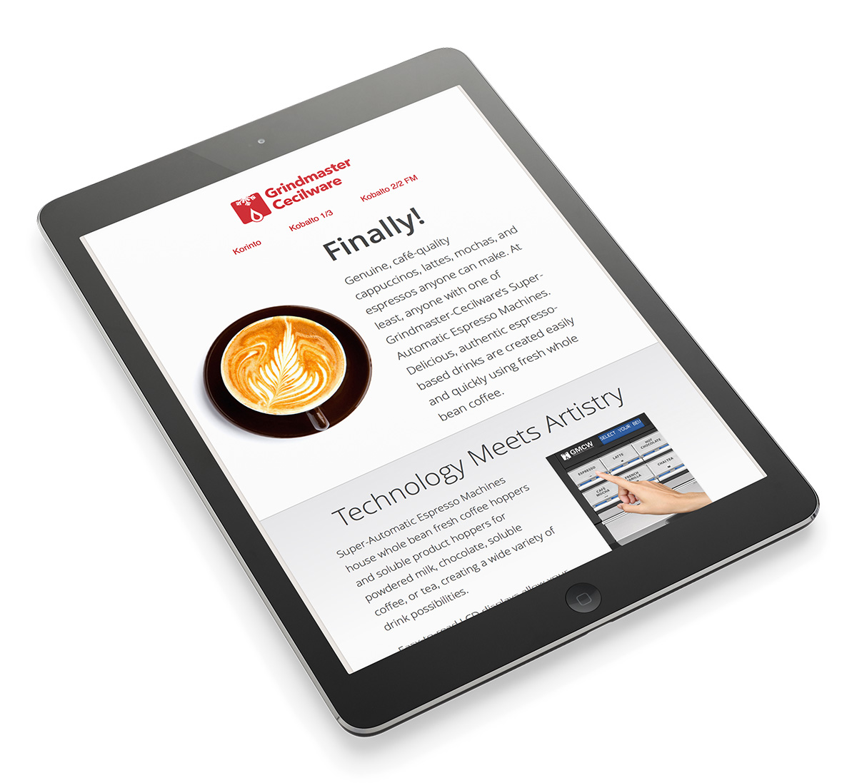 Espresso Microsite on Tablet