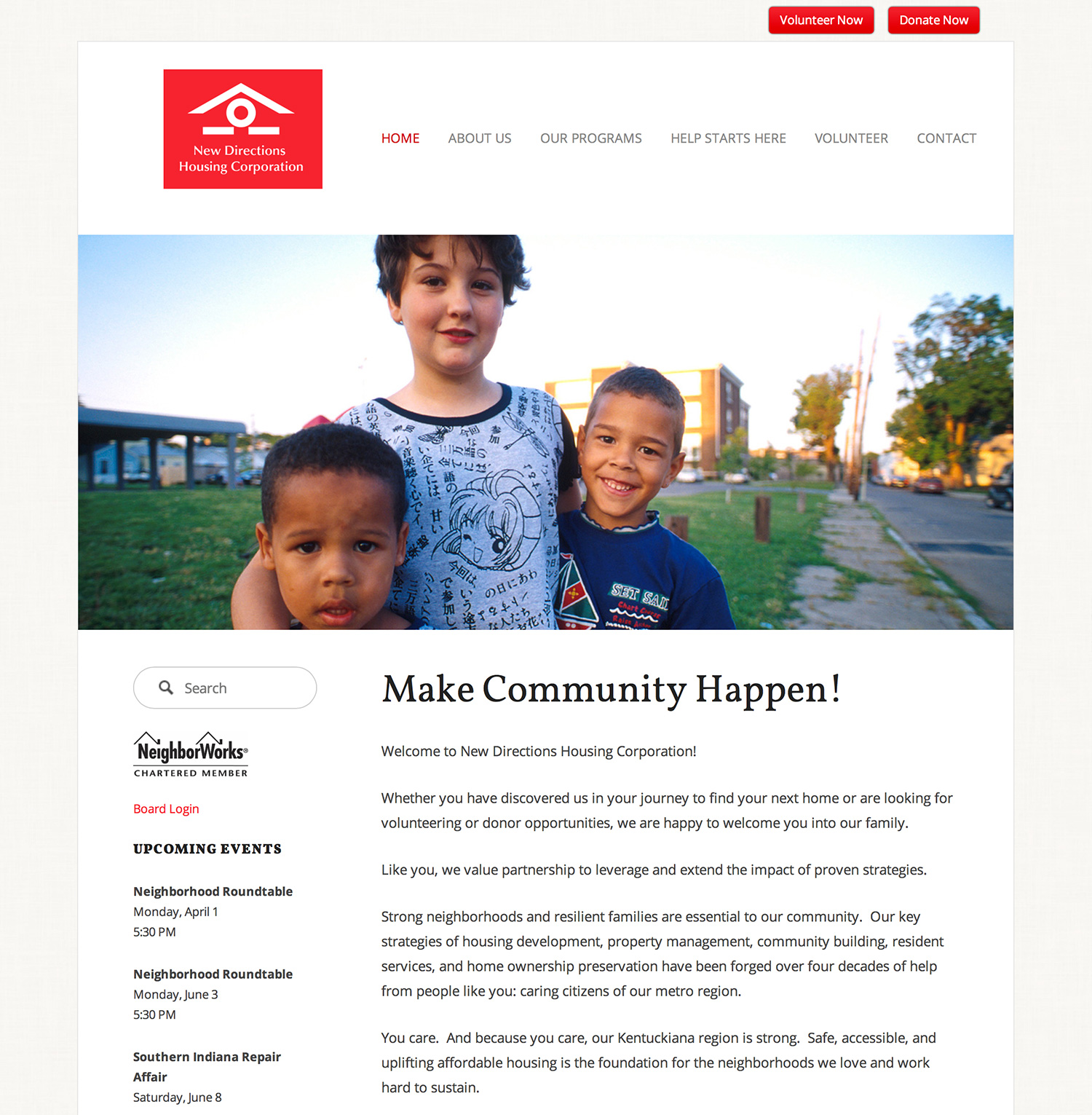 New Directions Housing Corporations Website Preview