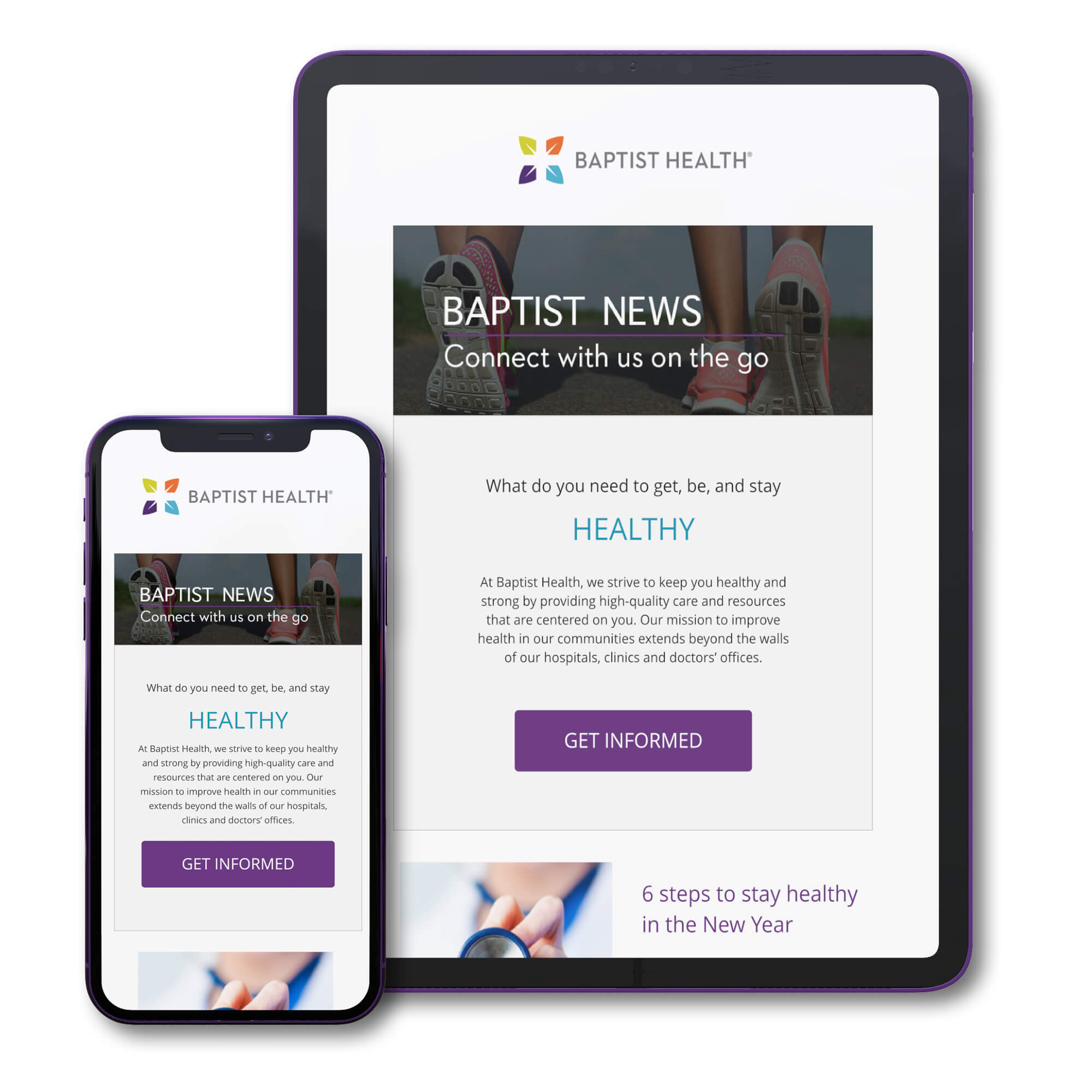 Baptist Health Email Template on Devices