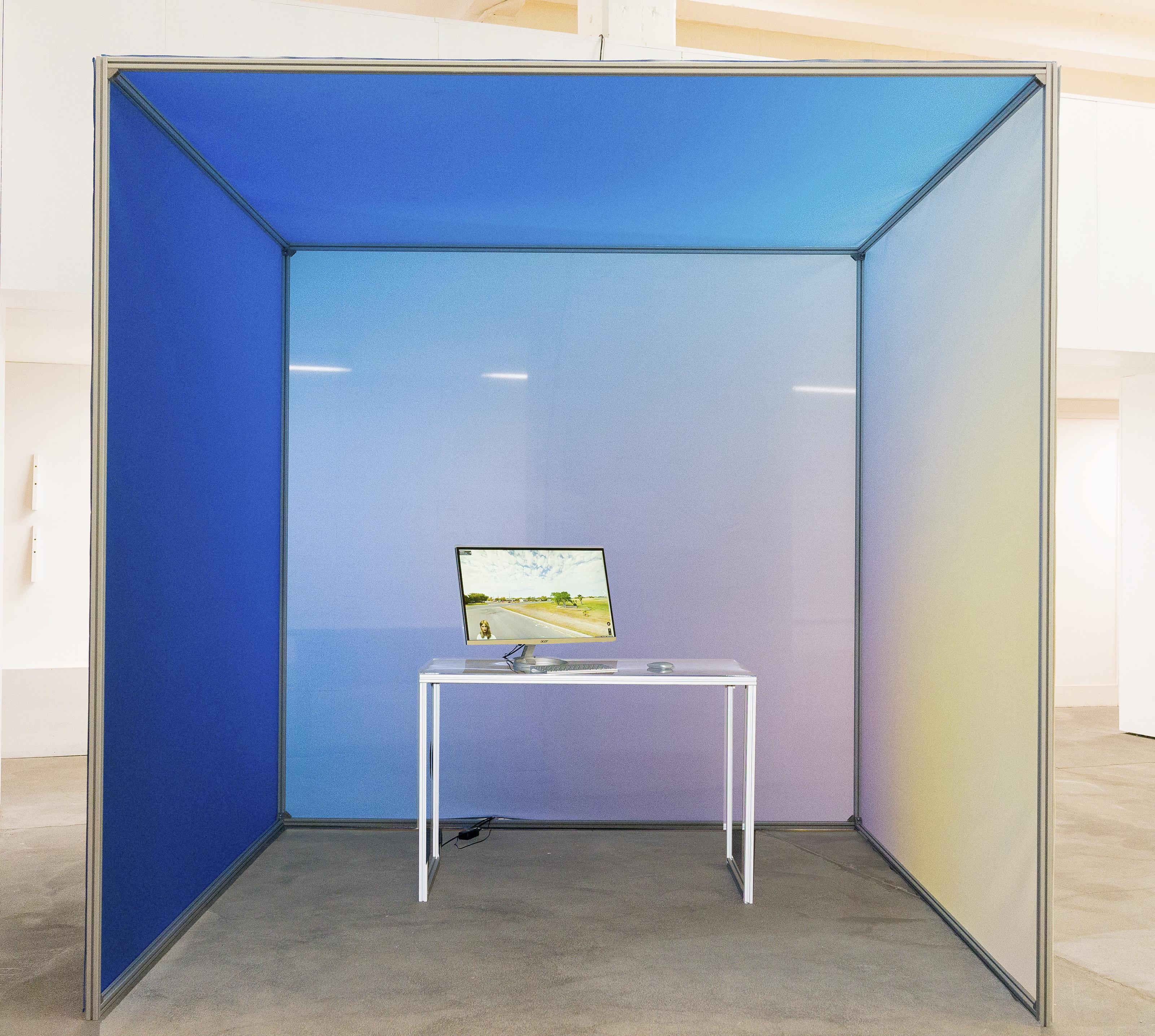 "Johanna Flato, ""DRAFTx.IO"" installation view, Harlesden High Street, London, 2019 (photo courtesy of Jonny Tanna)"