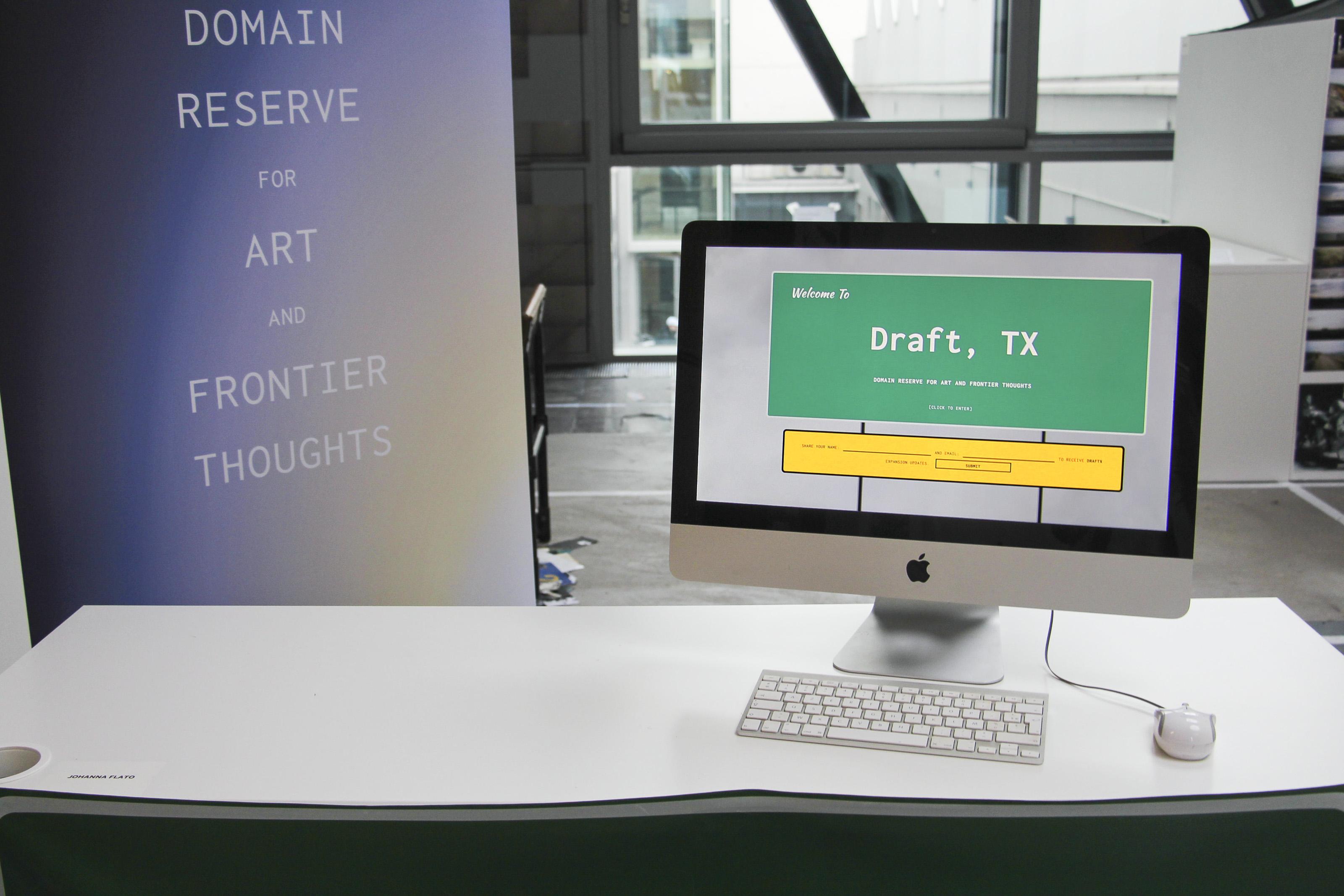 "Johanna Flato, ""DRAFTx.IO: beta launch"" installation view, Royal College of Art, London, 2019 (photo courtesy of Johanna Flato)"