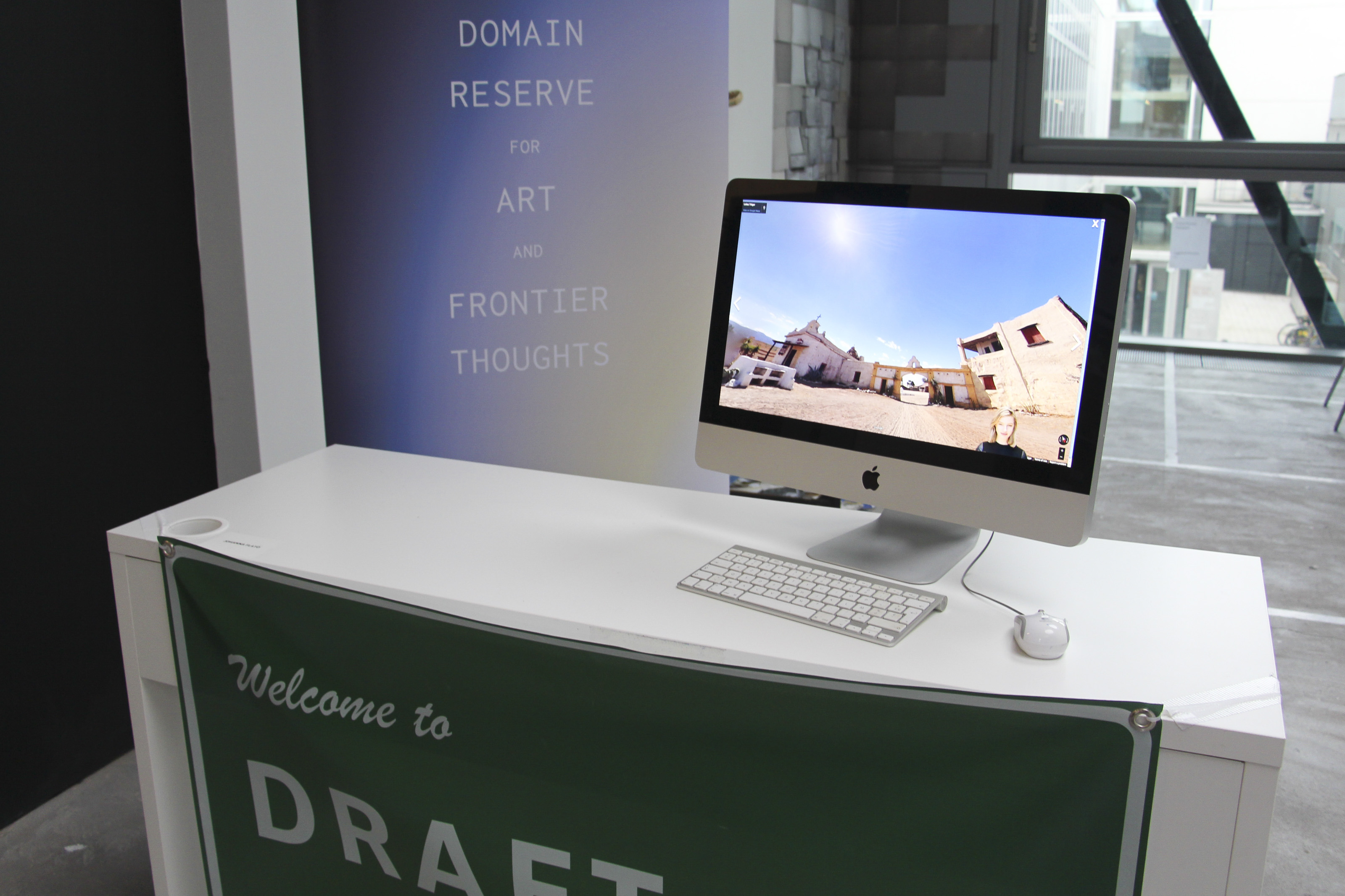 "Johanna Flato, ""DRAFTx.IO: beta launch"" installation view, Royal College of Art, London, 2019 (photo courtesy of Johanna Flato)"