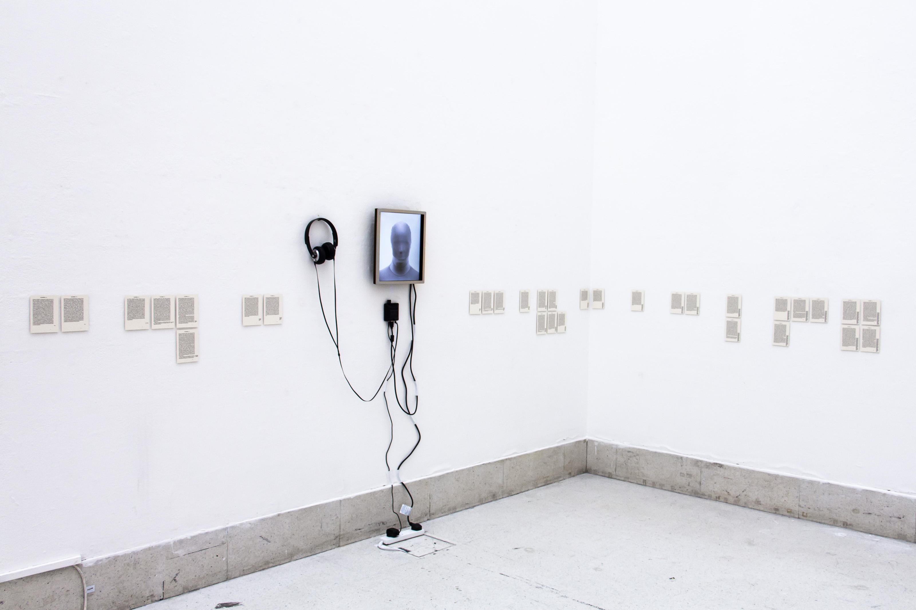 """Johanna Flato, """"Screen Test Portrait Mode"""" installation view, """"Sirens in the Blank,"""" Royal College of Art, London, 2018"""