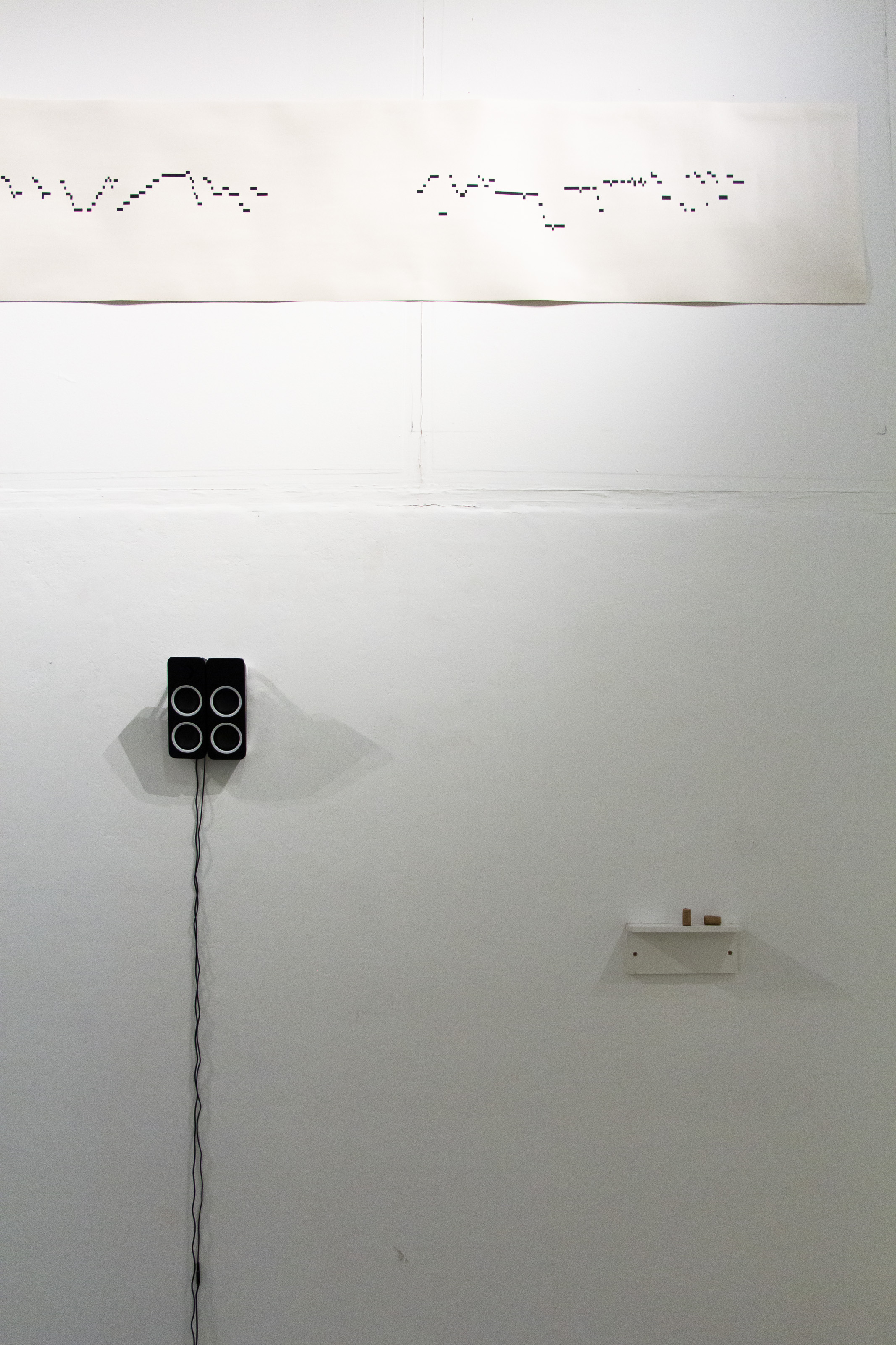 """Installation view of """"Sirens in the Blank"""" showing work by Chris Taylor and Judith Deschamps, 2018"""