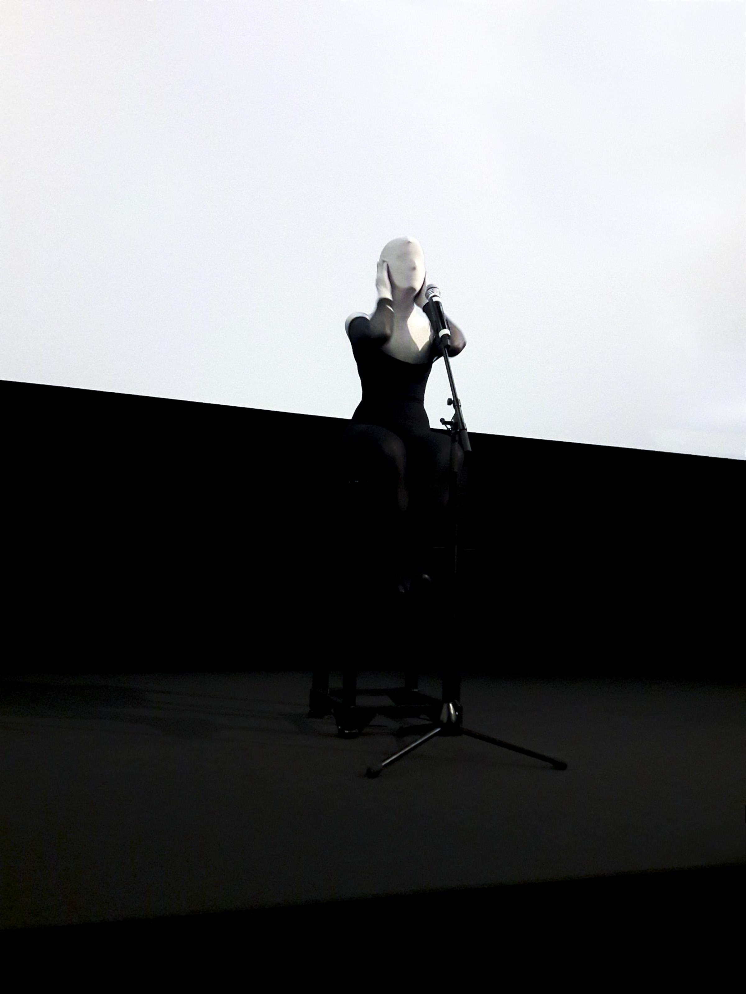 "Johanna Flato, ""Doing Lipsum Corpus"" performance, CAPbaret, Royal College of Art, London, 2018"