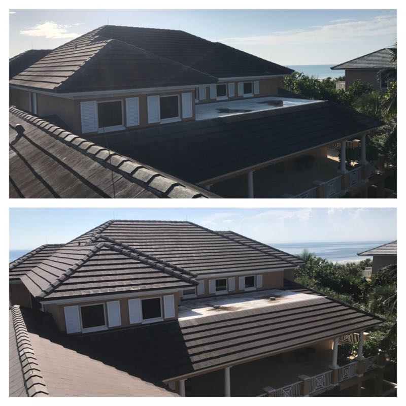 Roof in Vero Beach cleaned with soft washing process