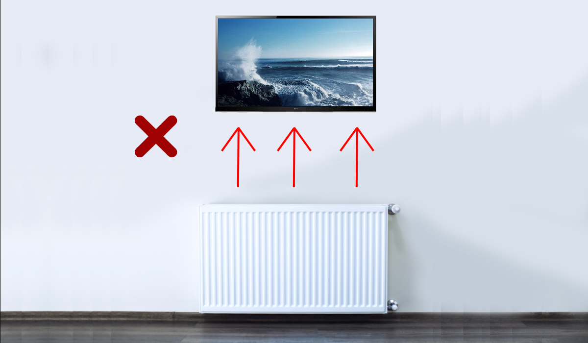 TV Installed Above A Radiator