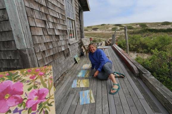 artist Claire Kendrick in the dunes of Cape Cod