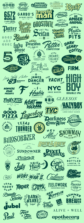 A fun typography and branding waterfall by Matt Thompson