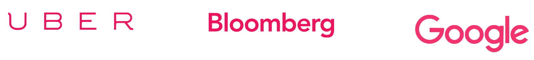 Uber, Bloomberg and Google logos in pink