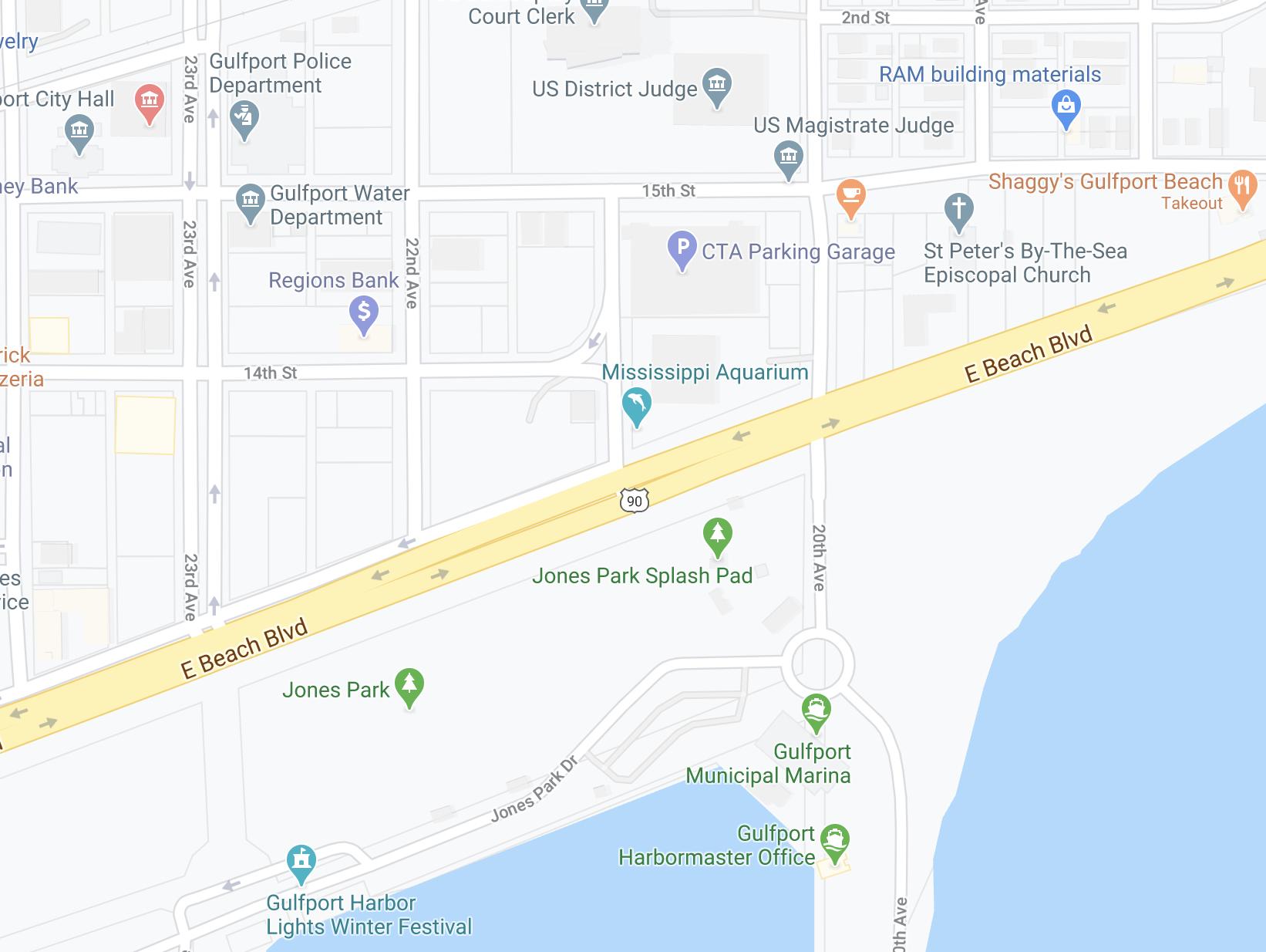 Map of Mississippi Aquarium's location