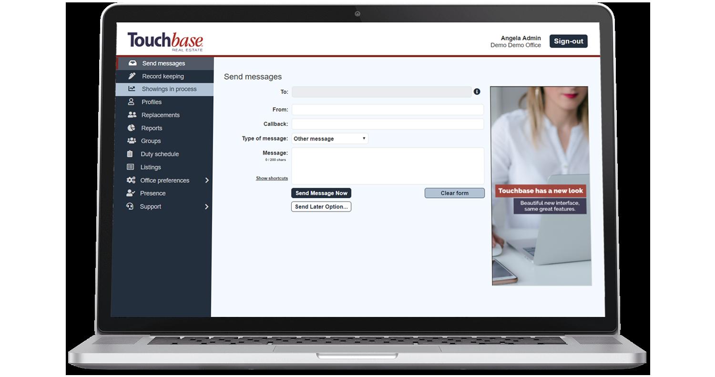 Touchbase admin interface on laptop