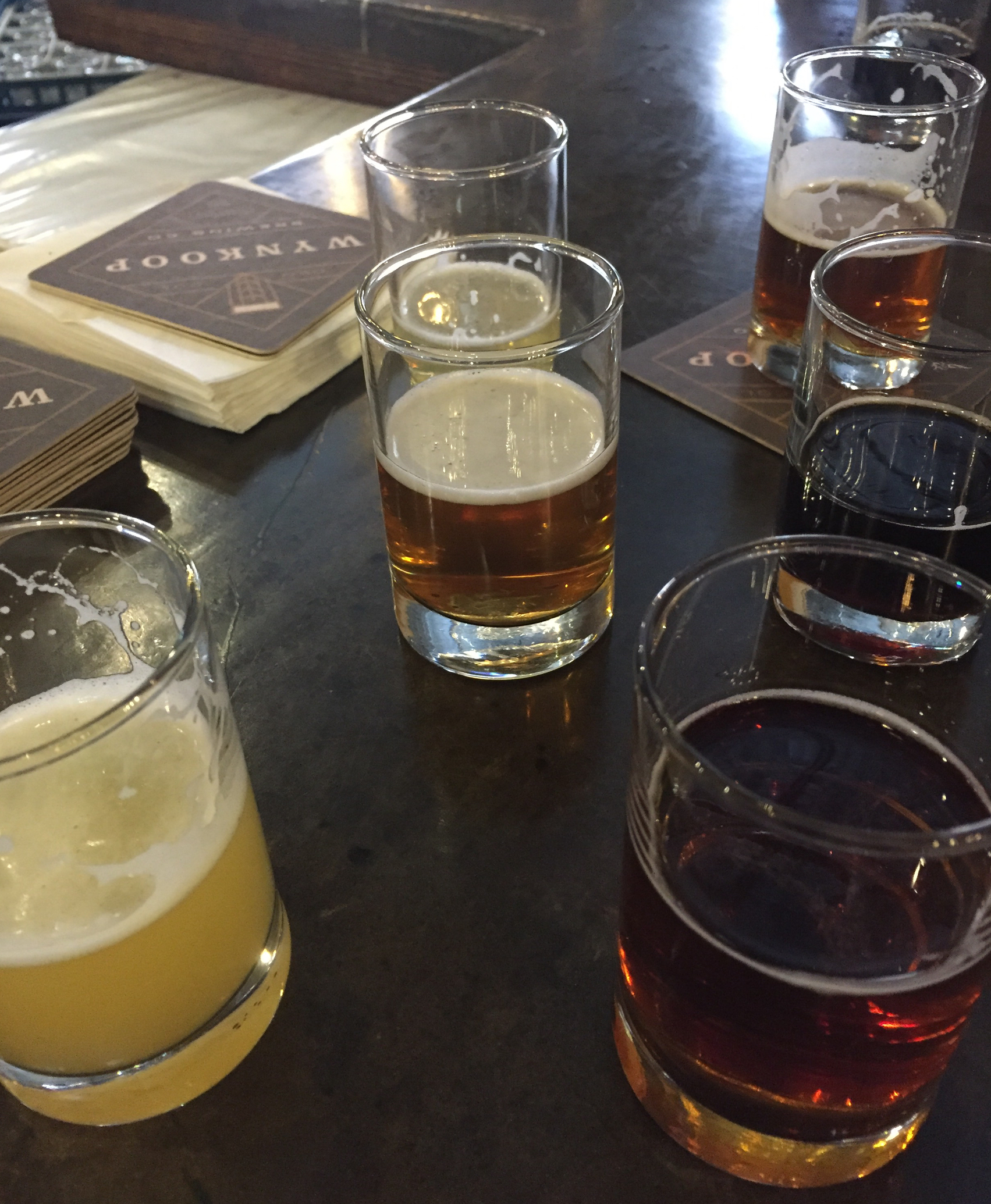 Samples of Wynkoop Brewing's Limey Unicorn, a collaboration beer with FrictionLabs