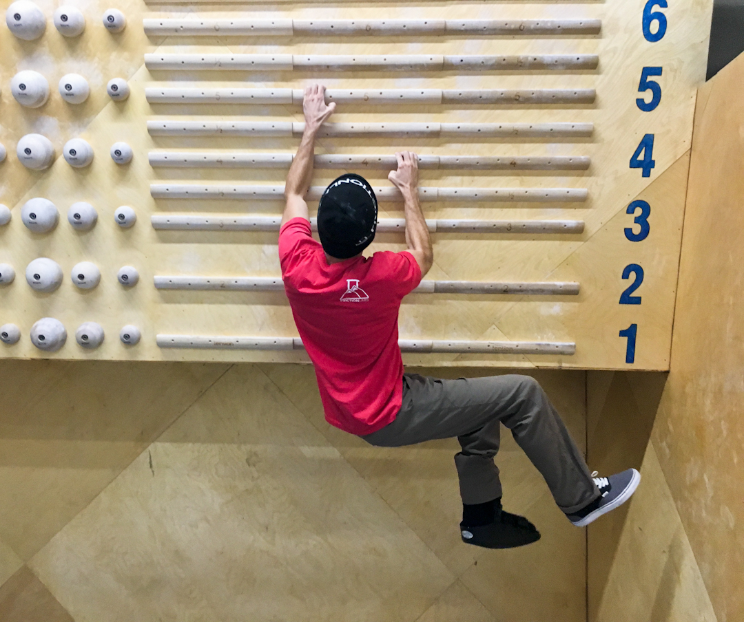 FrictionLabs Training Guide: Staying fit for climbing with a lower body injury – easy campus board intervals