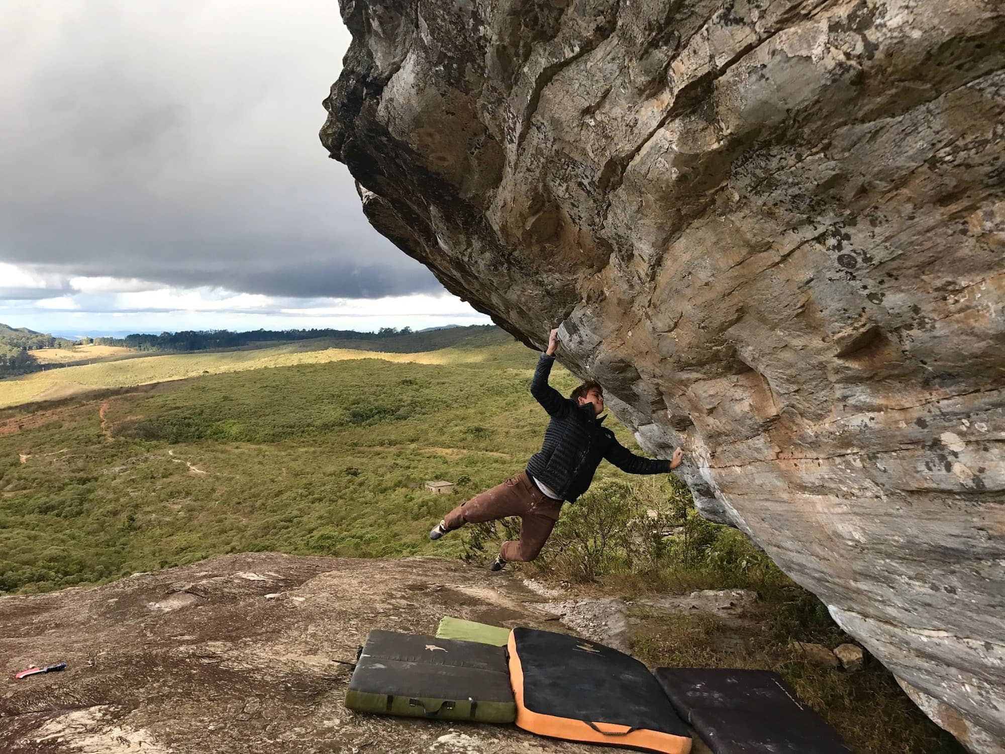 FrictionLabs Athlete Felipe Ho cuts feet while climbing this boulder