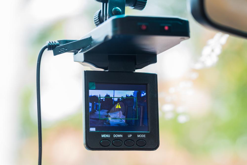 Dash cam on windshield