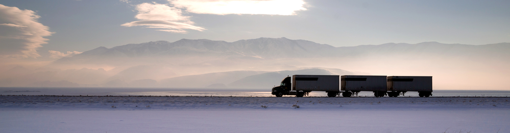 Truck driving in winter