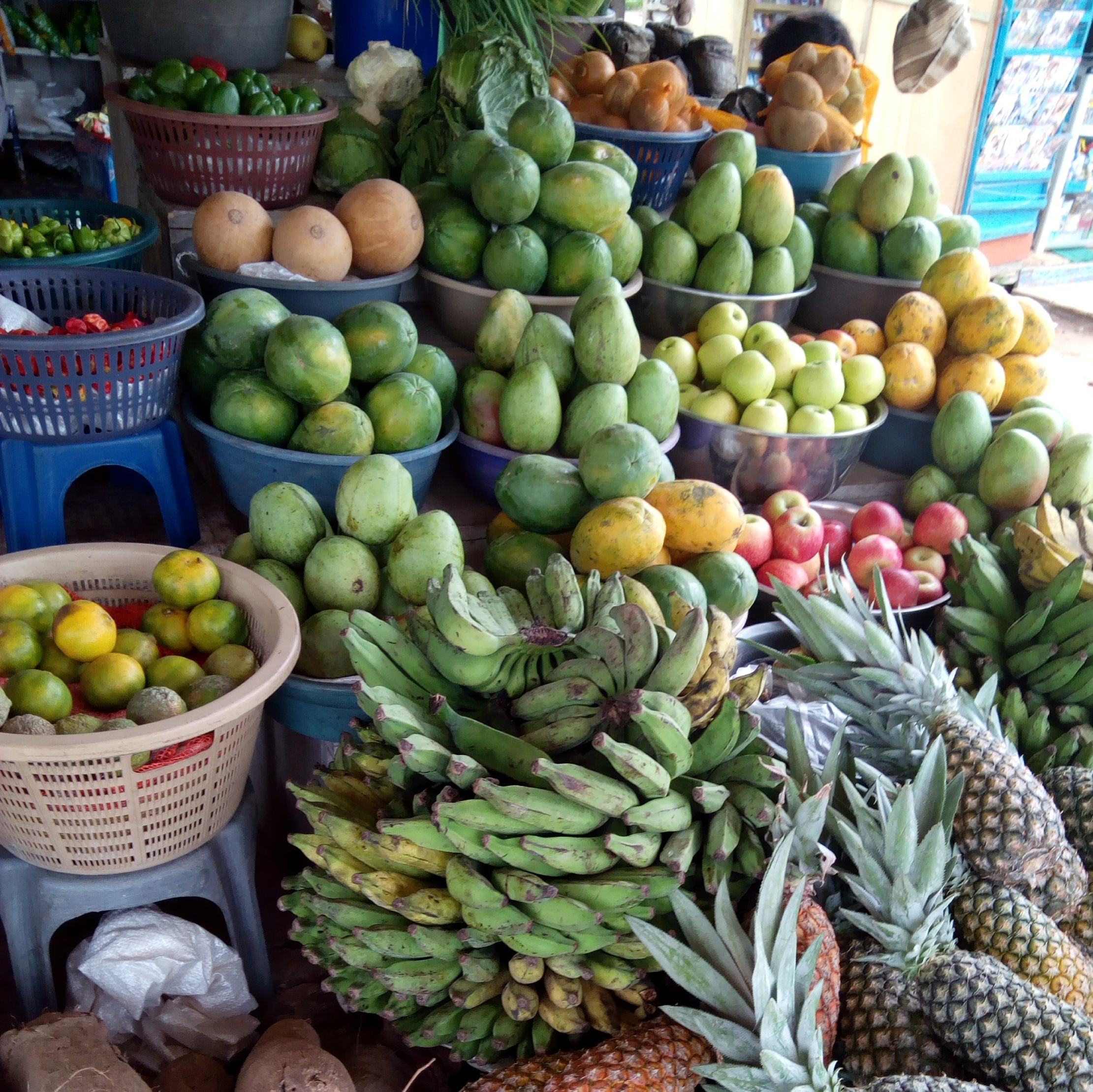 Fruits arranged in a market