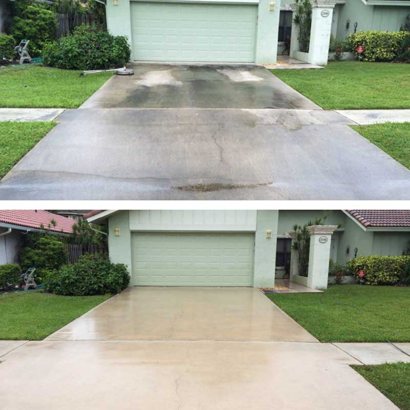 A Pensacola driveway pressure washed clean
