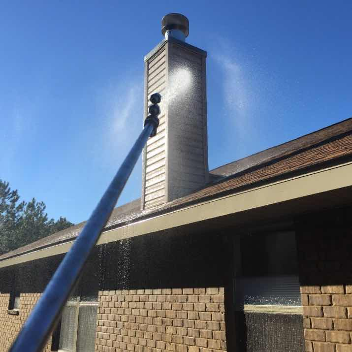 Pressure washing made a huge difference on this Pensacola roof