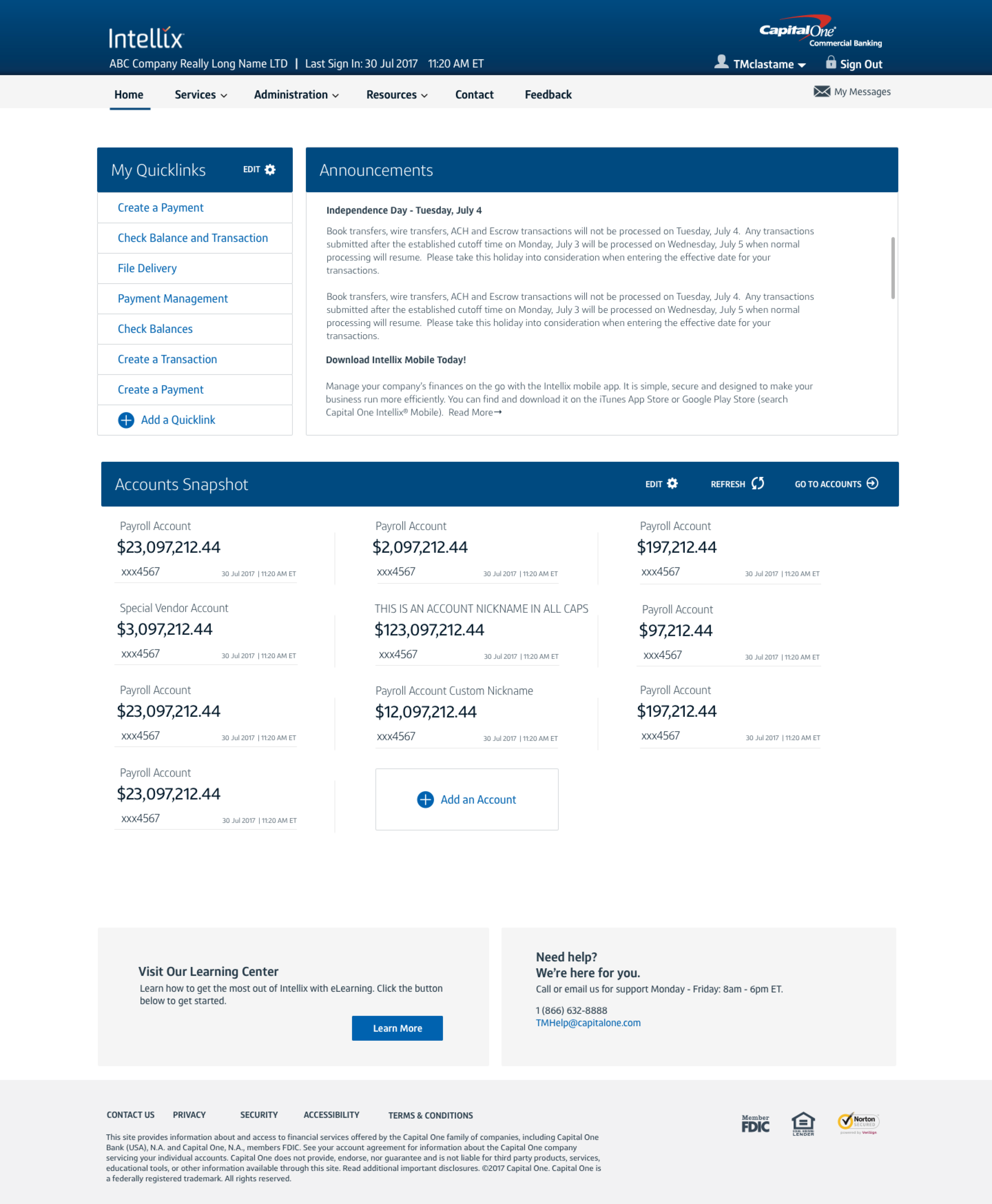 Capital One Homepage Redesign