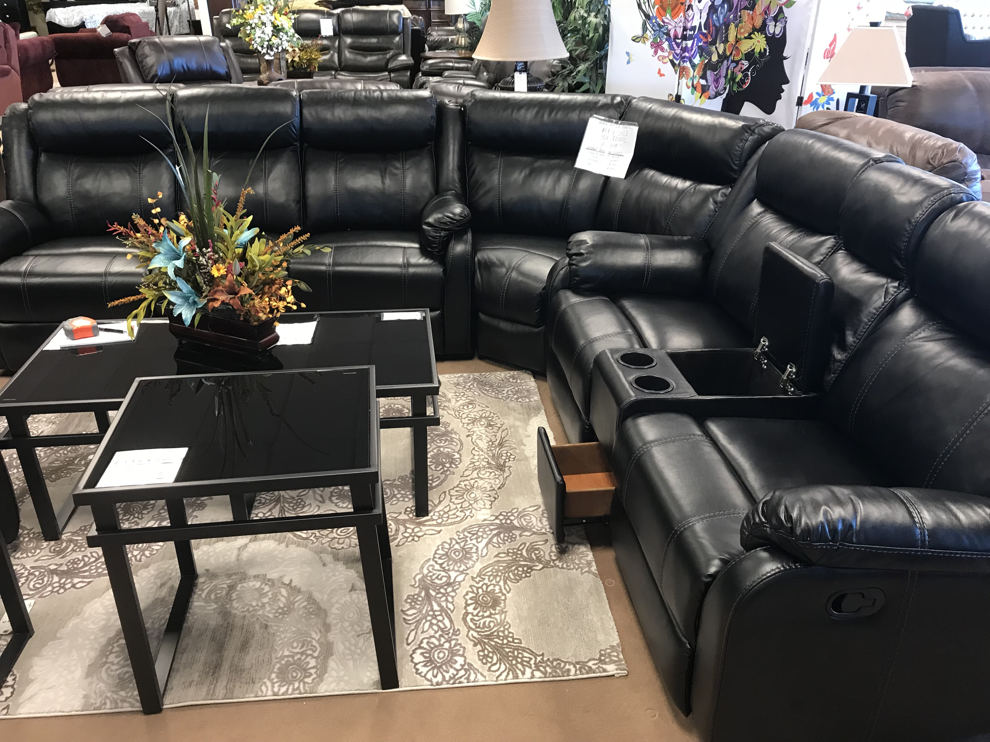 Genial Global Furniture U 7303 Black Leather Reclining Sectional