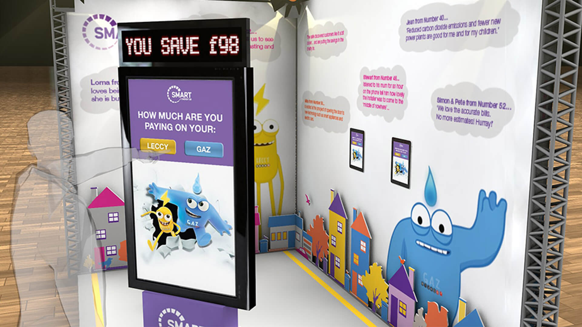 interactive touch screen experience stand