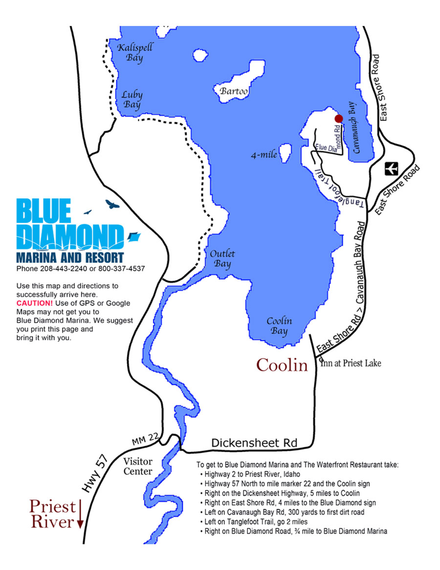 Map to Blue Diamond Marina & Resort