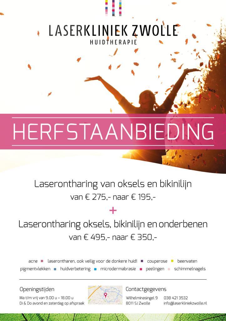 Herfstaanbieding bij Laserkliniek Zwolle-Huidtherapie - Laserontharing van oksels en bikinilijn en eventueel onderbenen