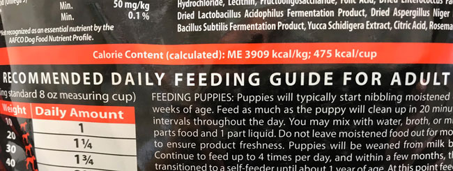 Dog Food Bowl, Calories on dog food labels aren't easily translated into servings. See our instructions.
