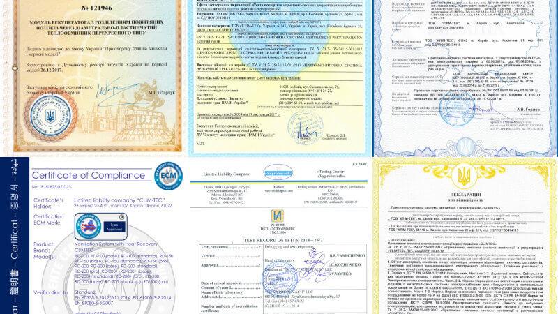Climtec sertifikāti, atļaujas, patenti